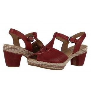 Дамски кожени сандали на среден ток Gabor 4273168 червени