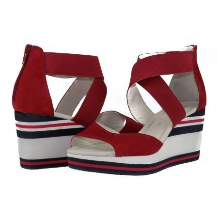Дамски сандали на платформа естествена кожа Gabor 4383115 червени