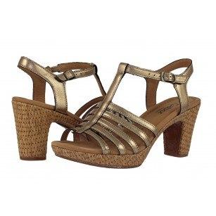 Дамски кожени сандали на среден ток  Gabor 6275391 металик