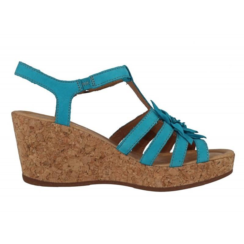 Дамски сандали на платформа естествена кожа Gabor 6284484 сини
