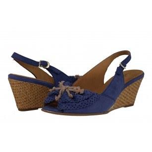 Дамски сандали на платформа от естествена кожа Gabor 655116 сини