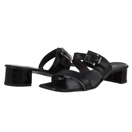 Дамски кожени сандали на ток Janet  черни