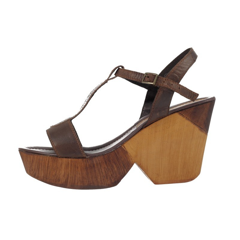 Дамски сандали на платформа Janet кафяви