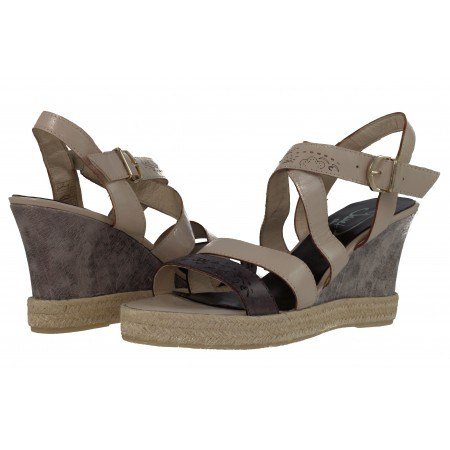Дамски сандали на платформа Janet бежови комби