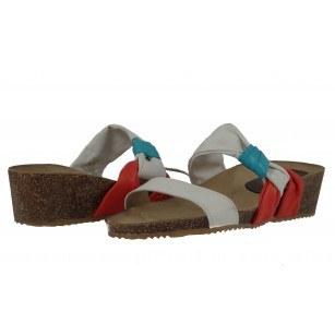 Дамски чехли на платформа естествена кожа Janet  бели