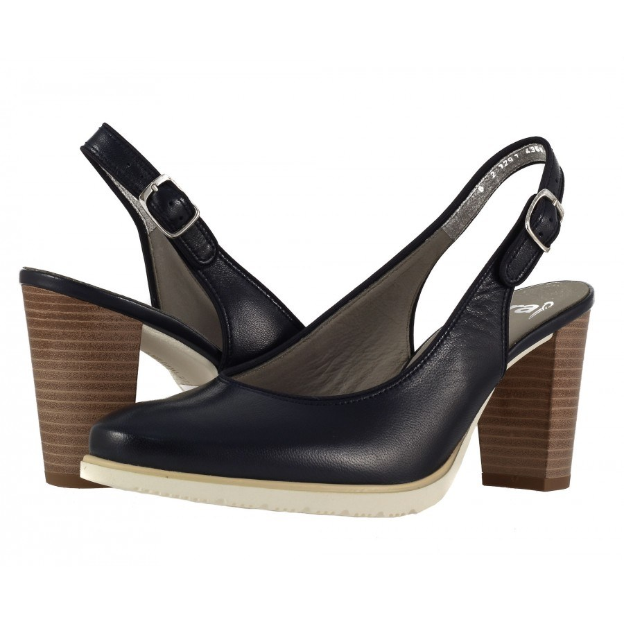 Дамски кожени сандали на ток Ara сини Extralight