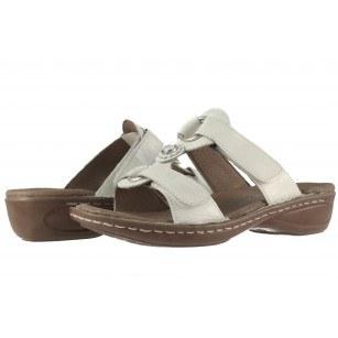 Дамски ортопедични чехли Ara естествена кожа бели