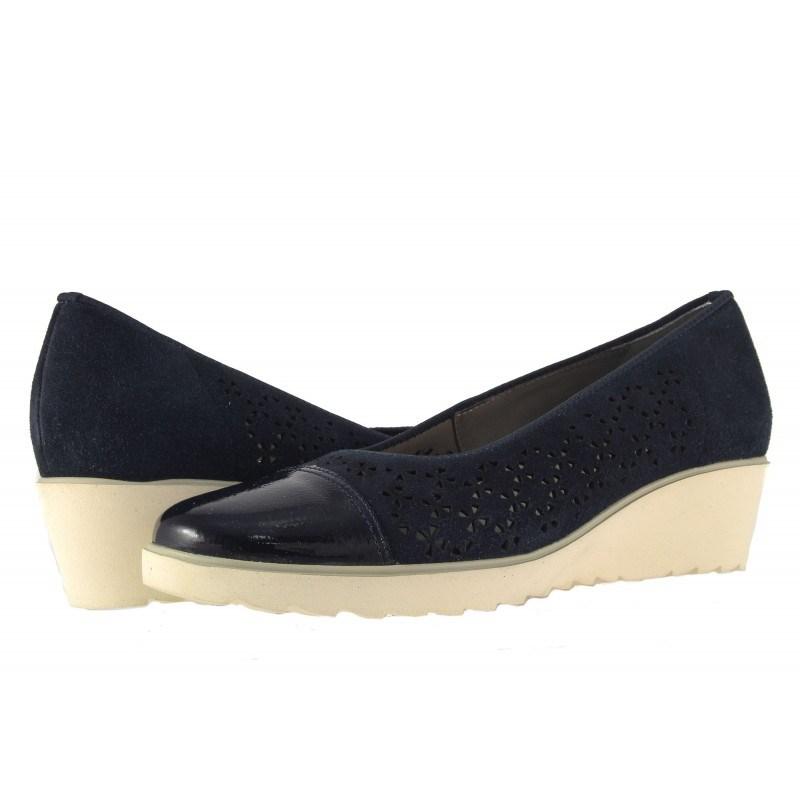 Дамски кожени обувки с платформа Ara сини с лак