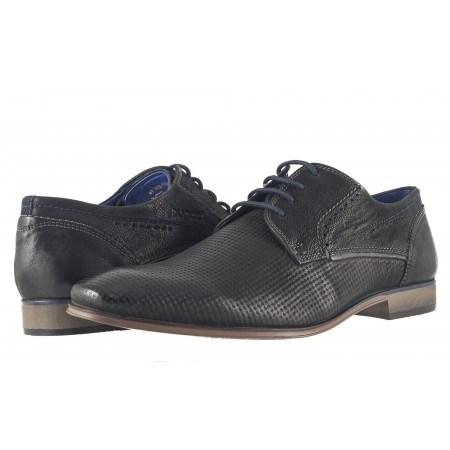 Спортно елегантни мъжки обувки Bugatti естествена кожа черни