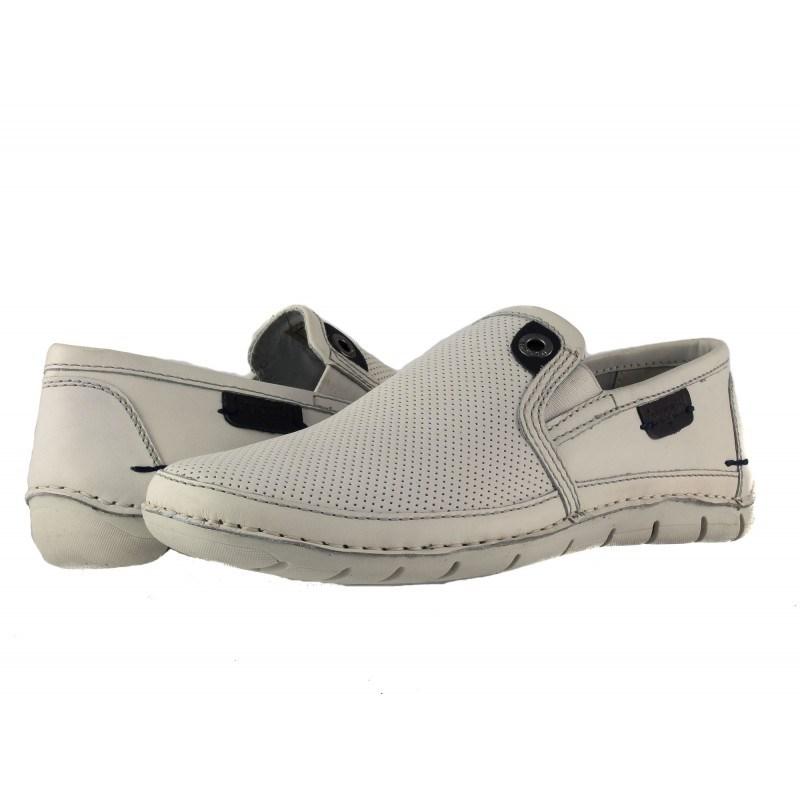 Мъжки бели обувки без връзки Bugatti бели