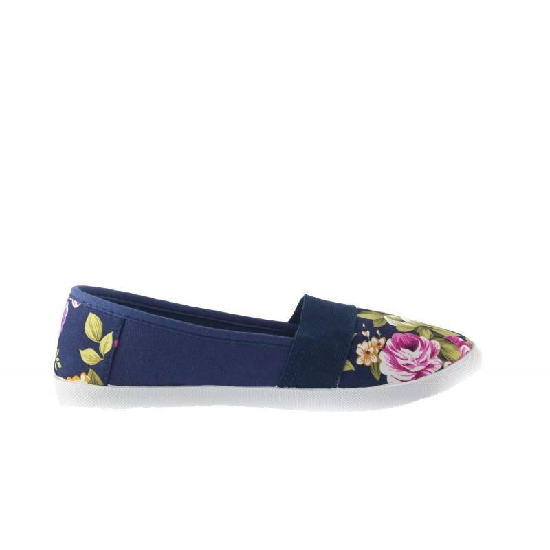 Дамски летни гуменки еспадрили Bulldozer сини с цветя