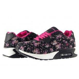 Дамски маратонки с камерна подметка Bulldozer черни с цветя
