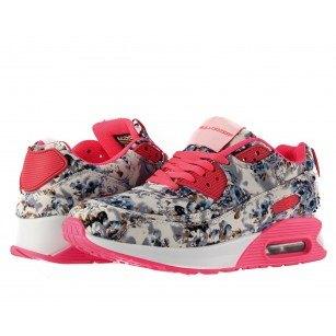 Дамски маратонки с камерна подметка Bulldozer сиви с цветя
