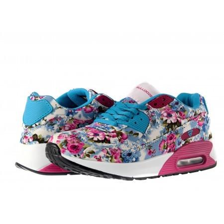 Дамски маратонки с камерна подметка Bulldozer сини с цветя