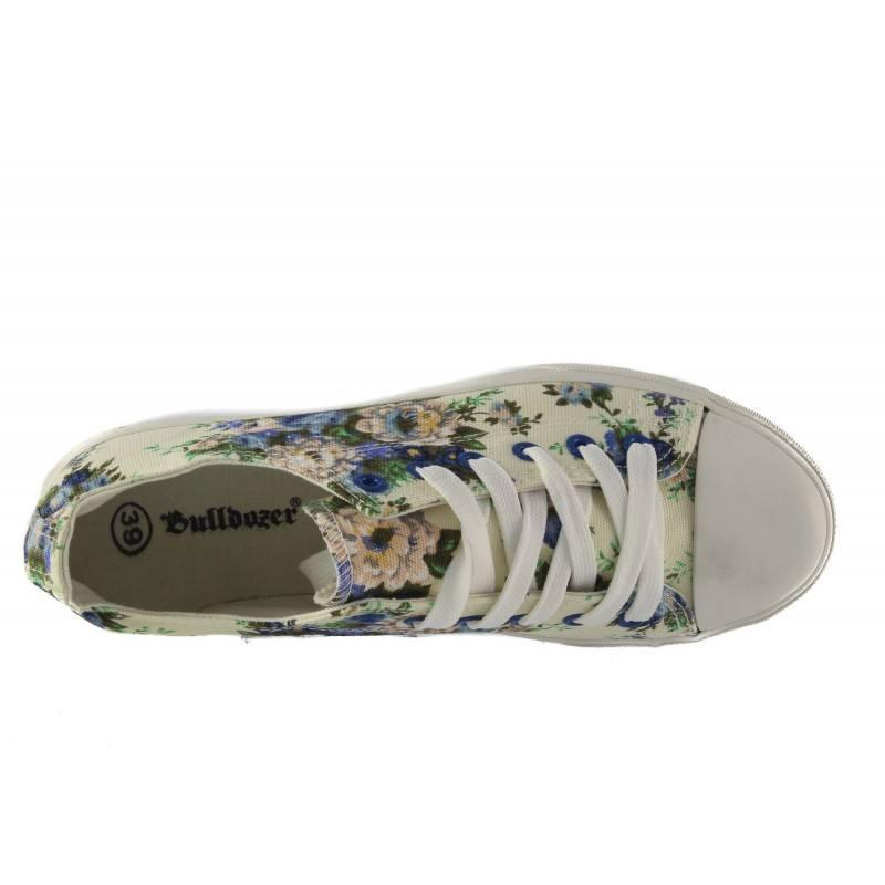 Дамски гуменки с връзки Bulldozer сини с цветя