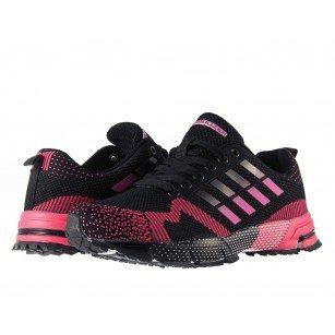 Дамски маратонки с връзки Bulldozer черно розови