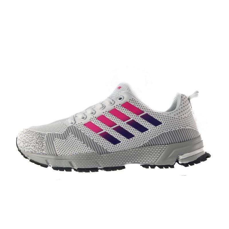 Дамски маратонки с връзки Bulldozer бели-лилави