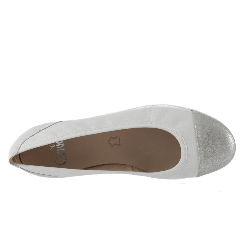 Дамски кожени обувки балерина Caprice бели