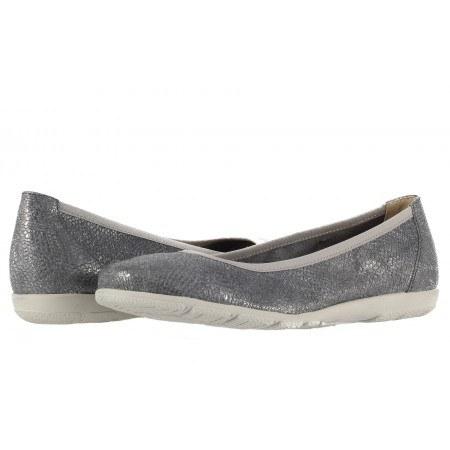 Дамски равни обувки балерина Caprice сребристи