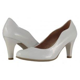 Дамски лачени обувки на висок ток Caprice бял лак