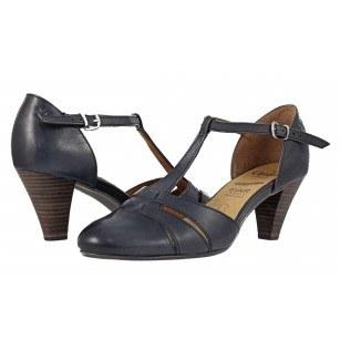 Дамски кожени сандали на ток Caprice сини