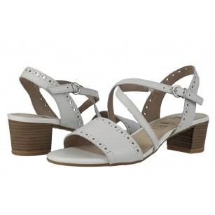 Дамски кожени сандали на ток Caprice бели