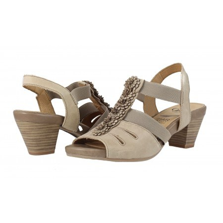 Дамски кожени сандали на ток Caprice бежови