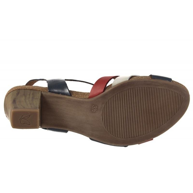Дамски сандали на ток Caprice сини комби