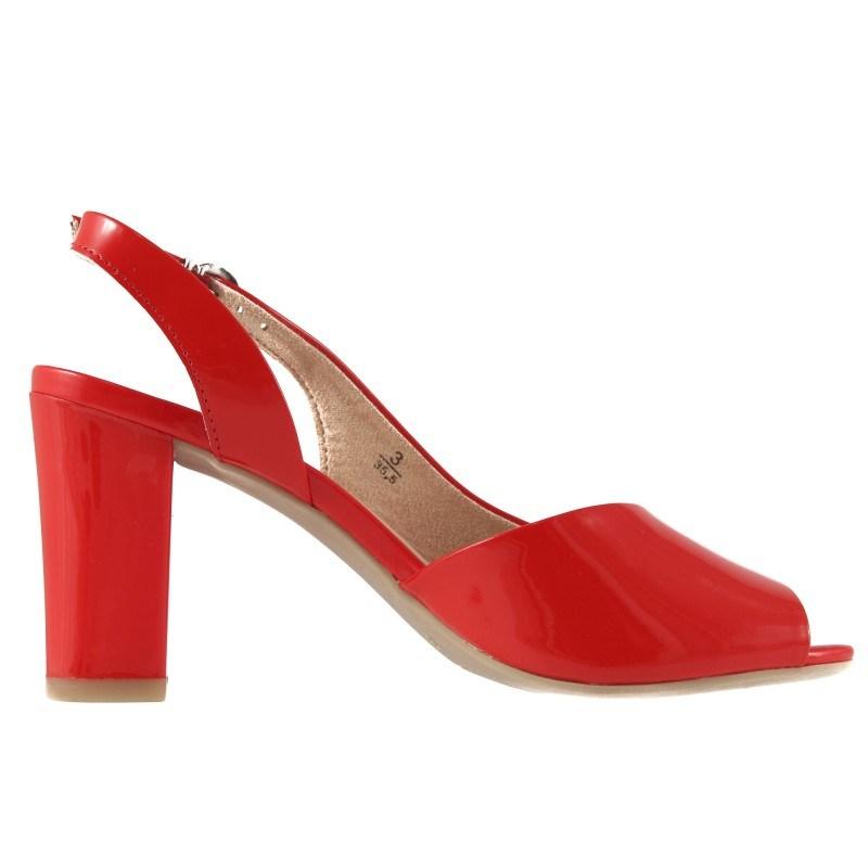 Дамски отворени обувки на висок ток Caprice червени 28311