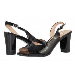 Дамски отворени обувки на висок ток Caprice черен лак