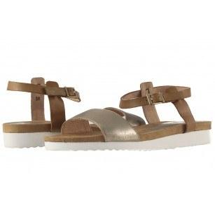 Дамски равни анатомични сандали Caprice кафяви/сребристи