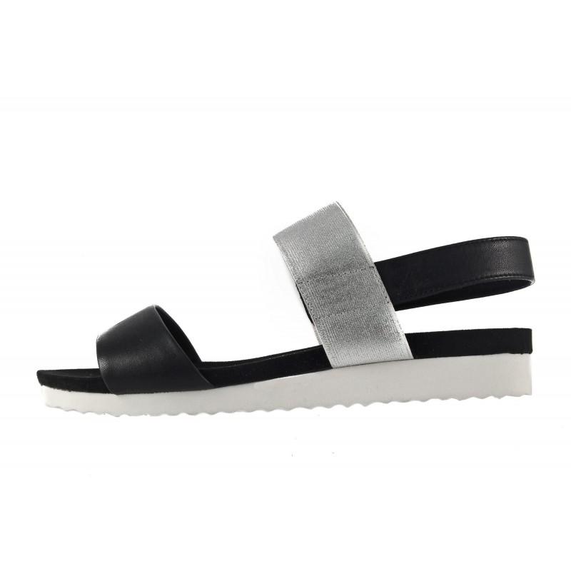 Дамски анатомични сандали равни Caprice черно/бели