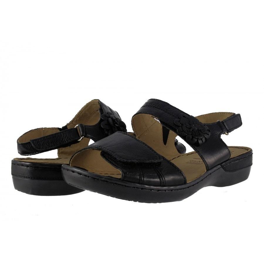 Дамски кожени анатомични сандали Caprice черни