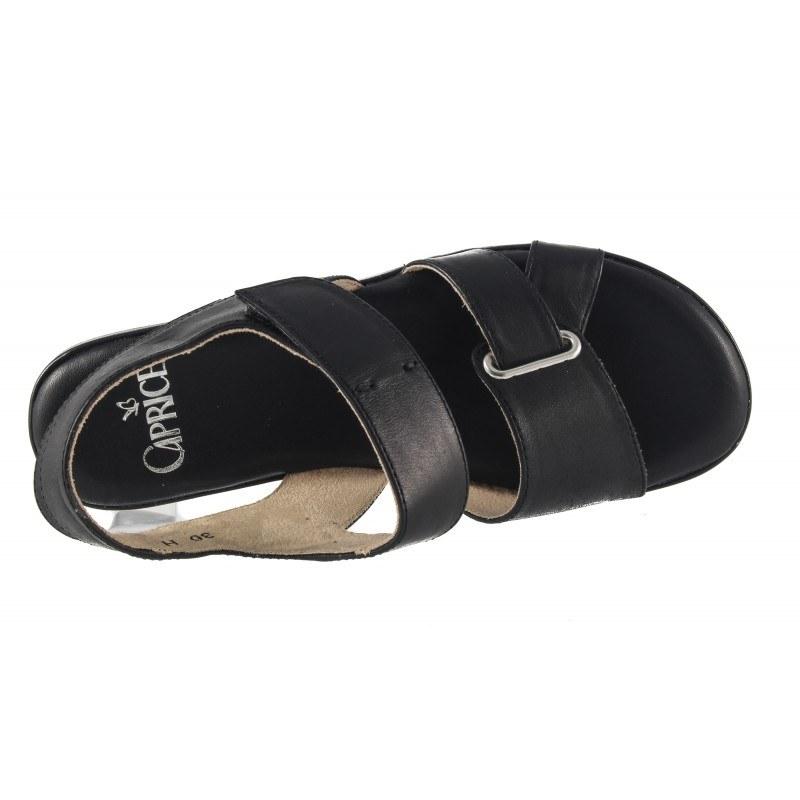 Дамски кожени сандали равни Caprice черни