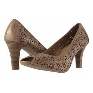 Дамски кожени летни обувки на ток Caprice бежови