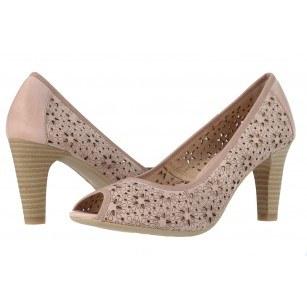 Дамски кожени летни обувки на ток Caprice розови