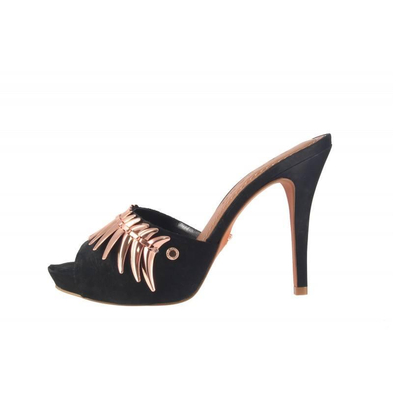 Елегантни дамски чехли на висок ток Carrano черни