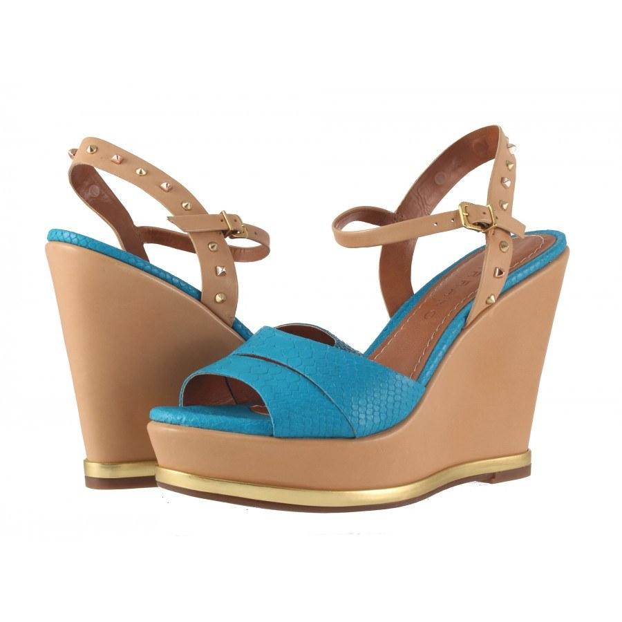 Дамски сандали на висока платформа Carrano тюркоаз