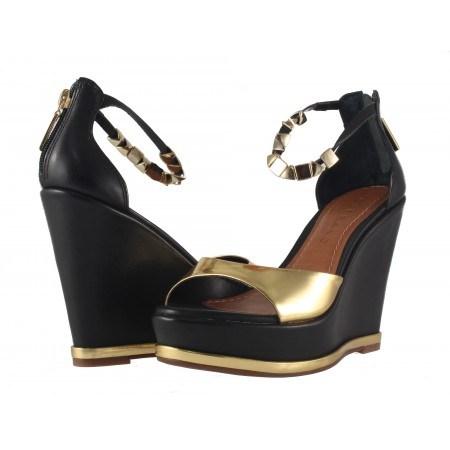 Дамски сандали на висок платформа Carrano черно златисти