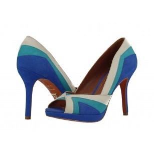 Елегантни дамски обувки на висок ток Carrano тюркоаз комби