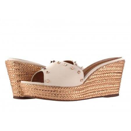 Дамски чехли на платформа Carrano бели