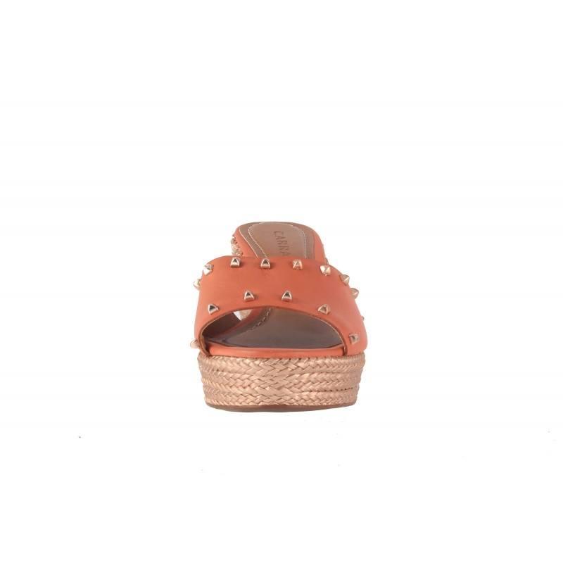 Дамски чехли на платформа Carrano корал
