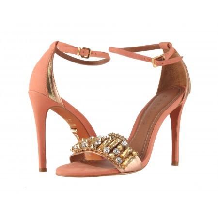 Елегантни дамски сандали на висок ток Carrano корал и камъни
