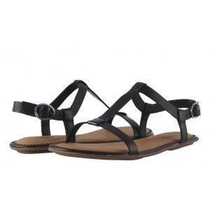 Дамски равни сандали естествена кожа Clarks Risi Hop черни