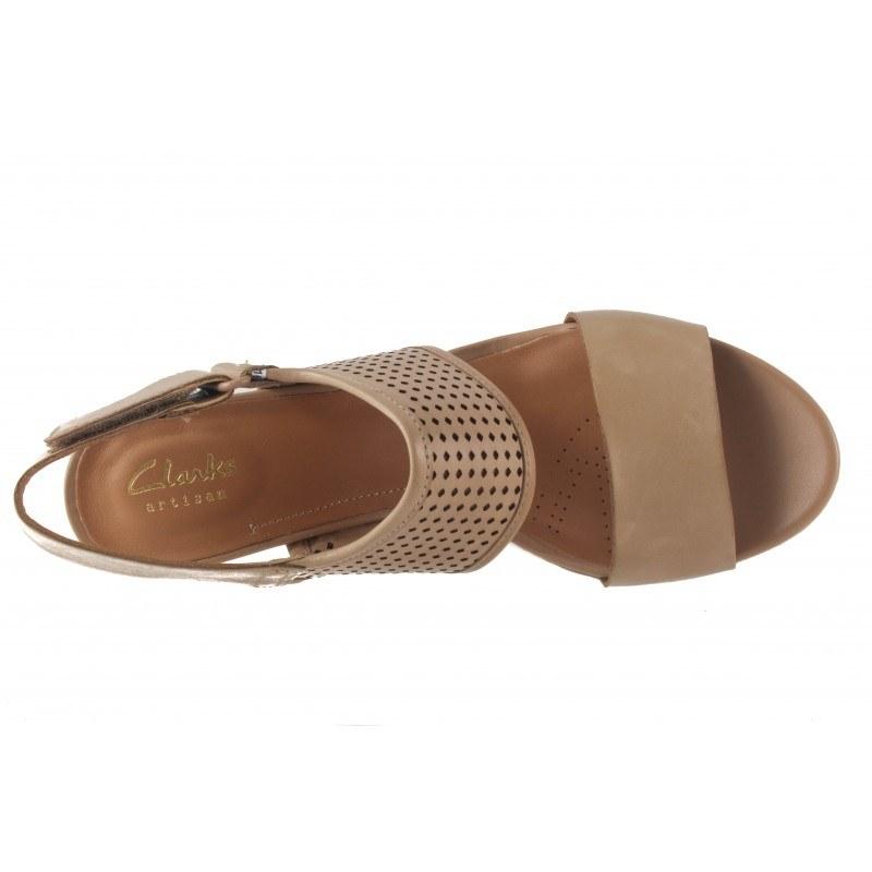 Дамски сандали на висок ток Clarks Pastina Malory бежови
