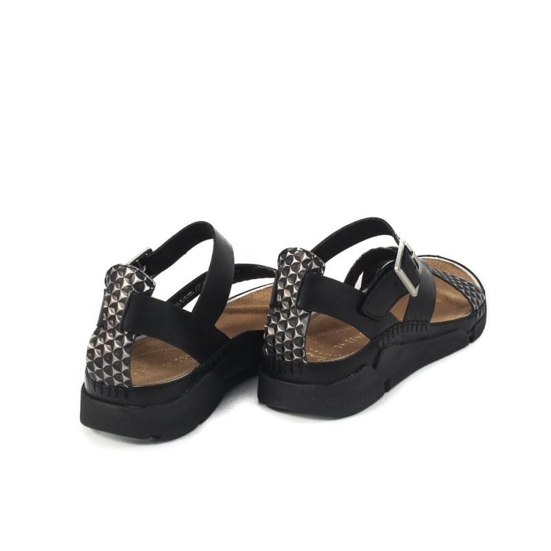 Дамски кожени сандали равни Clarks Tri Ariana черни