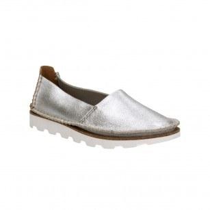 Дамски равни обувки естествена кожа Clarks Damara Chic сребристи