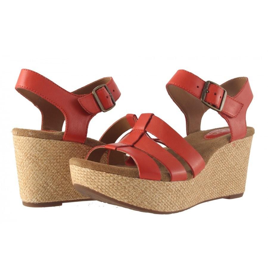 Дамски сандали на платформа Clarks Caslynn Harp червени