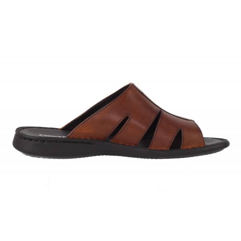 Мъжки чехли от естествена кожа Comyp кафяви 7029