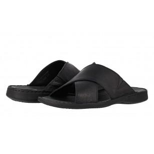 Мъжки чехли от естествена кожа Comyp черни 7990